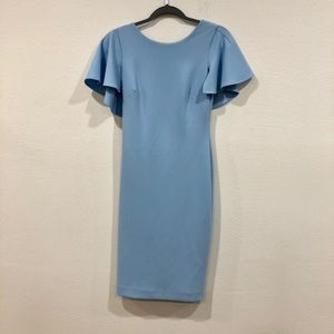 Sky blue ruffle dress.
